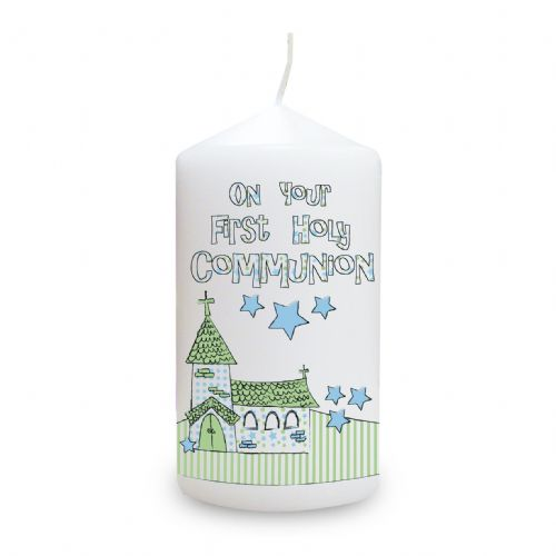 Personalised Blue First Holy Communion Church Candle